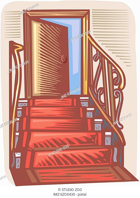 A red carpet leading up the stairs to an open door