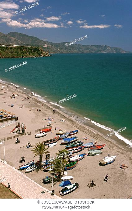 Burriana beach, Nerja, Malaga province, Region of Andalusia, Spain, Europe