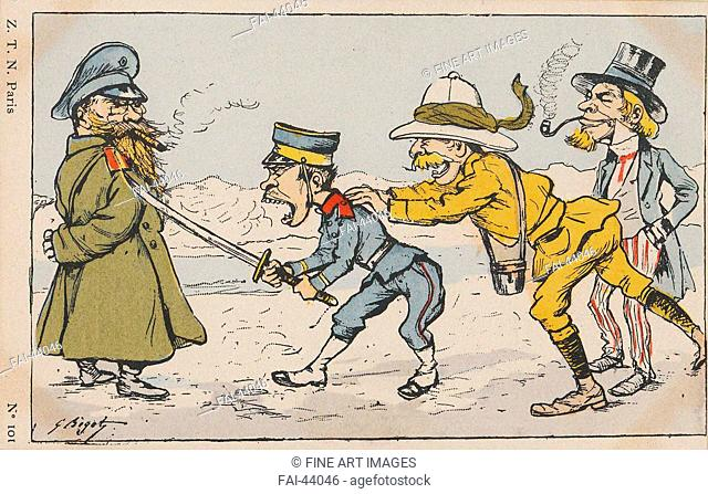 Japanese soldier challenging Russian soldier, urged on by an Englishman and Uncle Sam by Bigot, Georges (1860-1927)/Colour...