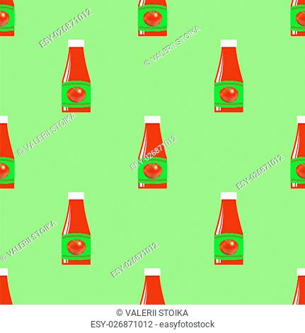 Tomato Ketchup Seamless Pattern on Green. Seasoning for Meat Dishes
