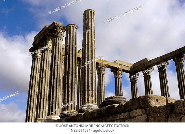 Ruins of Roman temple of Diana at Evora, Alentejo. Portugal