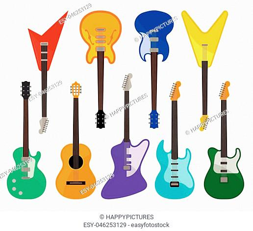 Acoustic and electric guitars set, musical instruments of various colors vector Illustrations isolated on a white background