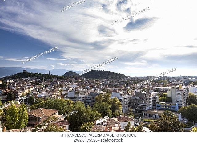 Aerial view of the city on a summer day. Plovdiv, Bulgaria