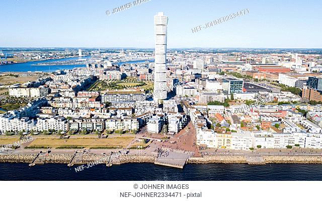 Cityscape with Turning Torso skyscraper, Malmo, Sweden