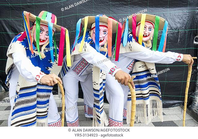 """Billingham, north east England. United Kingdom. 15th August, 2018. Dancers from Mexico performing """"""""La danza de viejitos"""""""" (dance of the old men) at the..."""
