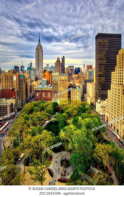 Aerial view to the Flatiron District along with Fifth Avenue, Broadway , Madison Square Park as well as the the Empire State Building and the Chrysler Building...