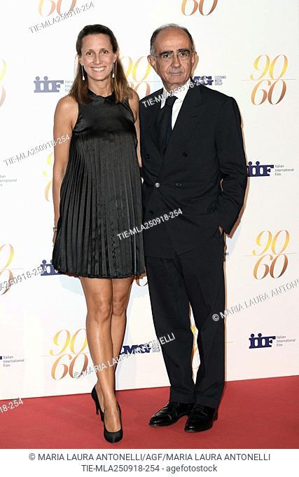 Giancarlo Leone with wife Diamara Parodi Delfino during red carpet of 60/90 party, for 60 years of career and ninetieth birthday of Fulvio Lucisano