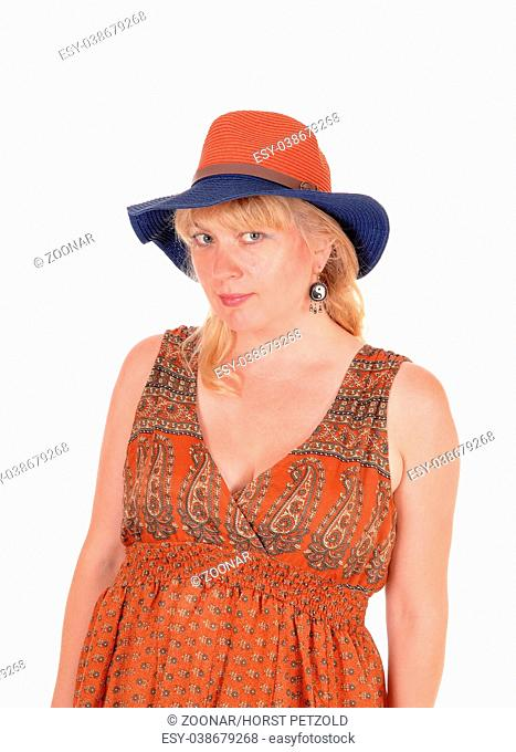 Portrait of blond woman with hat