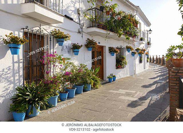 Street Life. Typical white village of Mijas Pueblo. Malaga province Costal del Sol. Andalusia, Southern Spain. Europe