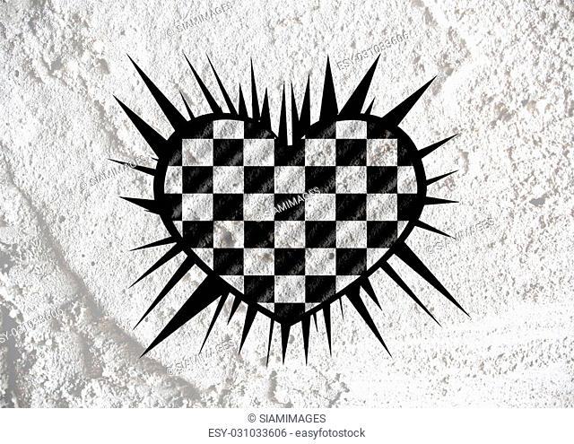 Love checkered flag sign heart symbol on Cement wall texture background design