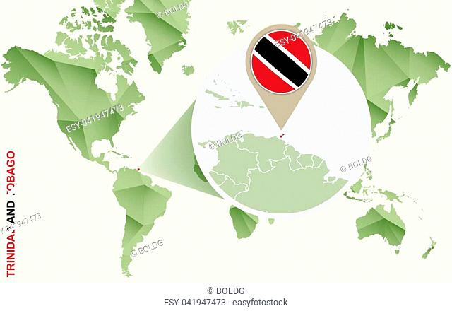 Infographic for Trinidad and Tobago, detailed map of Trinidad and Tobago with flag. Vector Info graphic green map