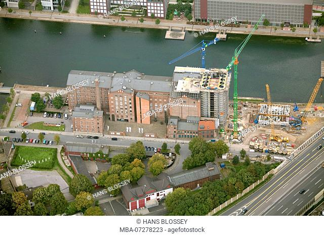Aerial view, Museum Kueppersmühle for modern art, reconstruction, Duisburg, Ruhr area, North Rhine-Westphalia, Germany, Europe
