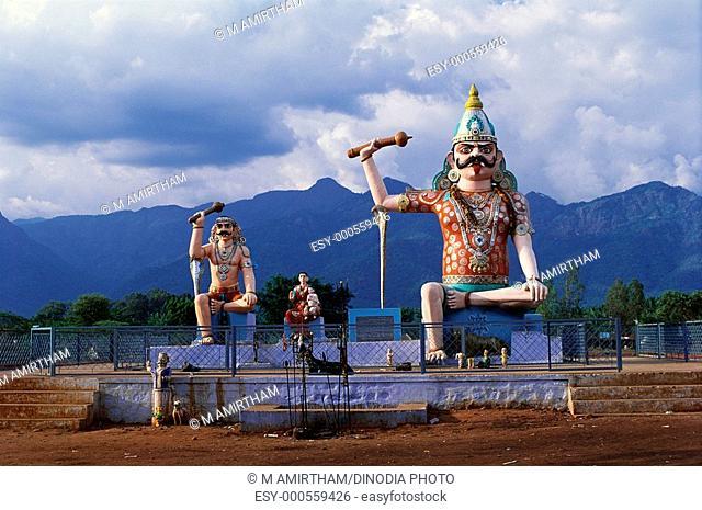 Bhasura and Bheema in Vana Bhadrakali Amman temple near Coimbatore , Tamil Nadu , India