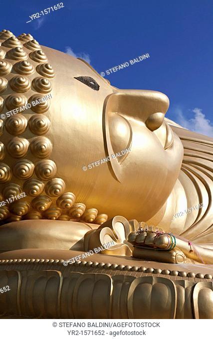 Giant reclining buddha,Wat Phranom Laem Phor, Ko Yo, Songkhla province, Thailand
