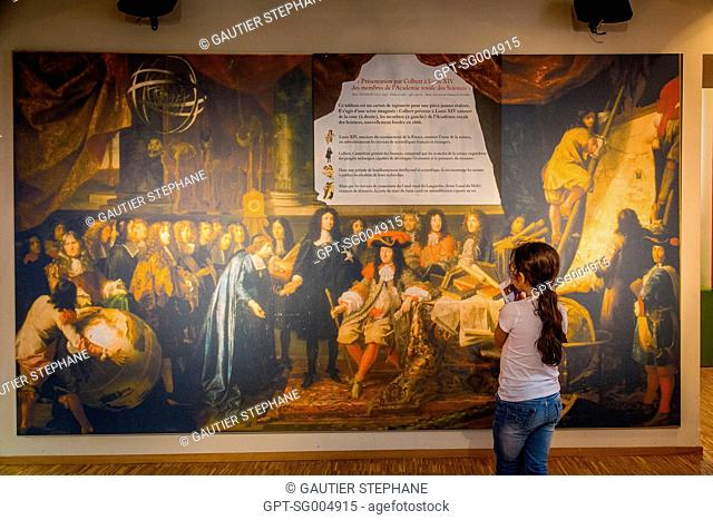 PAINTING REPRESENTING COLBERT PRESENTING THE MEMBERS OF THE ROYAL ACADEMY OF SCIENCES TO LOUIS XIV, MUSEUM AND GARDENS OF THE CANAL DU MIDI, LAKE SAINT FERREOL