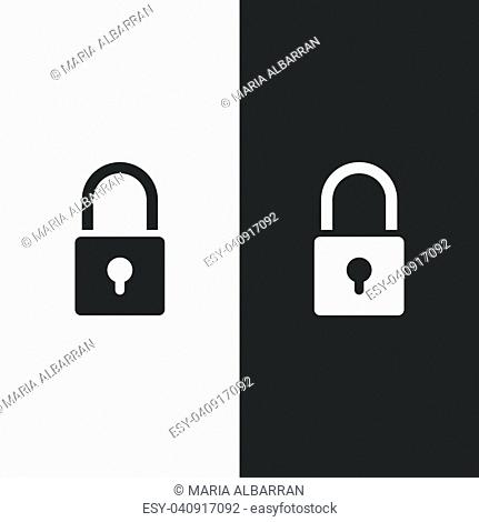 Lock icon on black and white background. Vector illustration