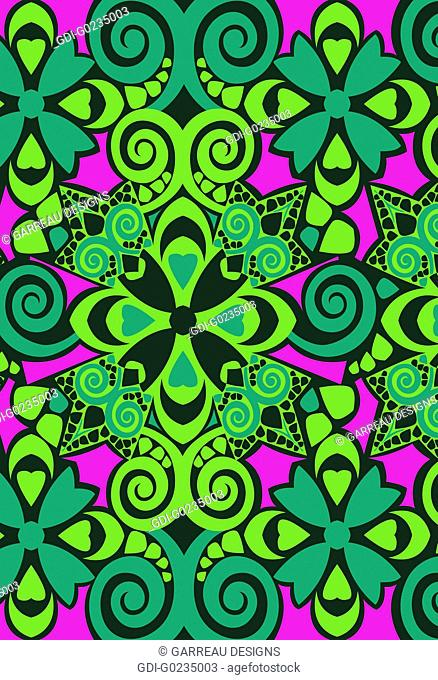 Magenta and green geometric design