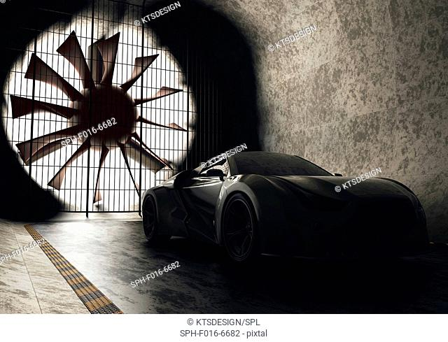 Sports car in wind tunnel, illustration