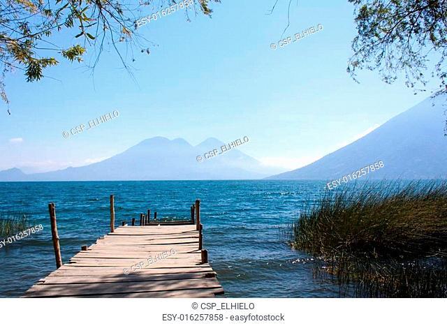 Lake Atitlan wooden pathway San Marcos La Laguna Guatemala