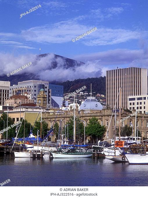 The downtown district of Hobart over shadowed by Mount Wellington viewed from Constitution Dock