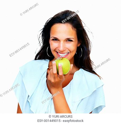 Head shot of woman holding apple against white background