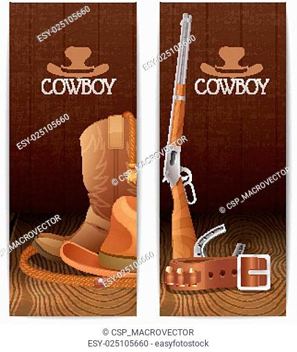 Two vertical cowboy banners