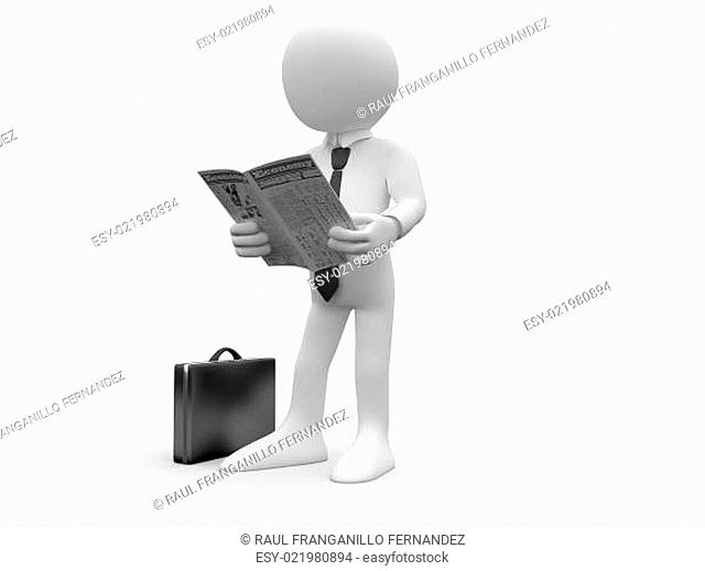 3d human reading the newspaper with his briefcase on the floor and a shirt and t