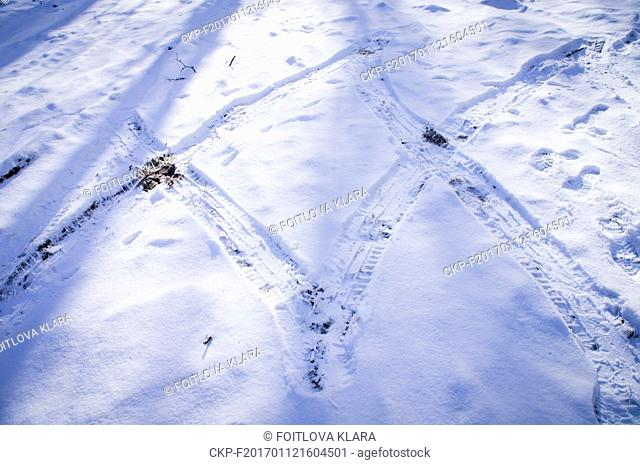 construction site, car tracks in snow, winter, Czech Republic, January 5, 2017. (CTK Photo/Klara Foitlova)