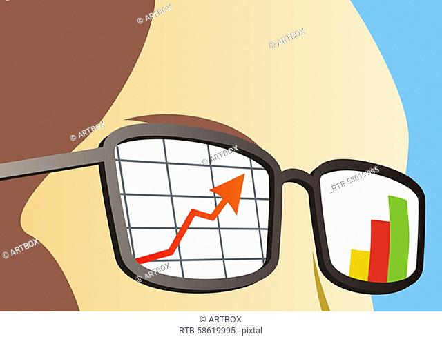Reflection of a line graph and bar graph in eyeglasses
