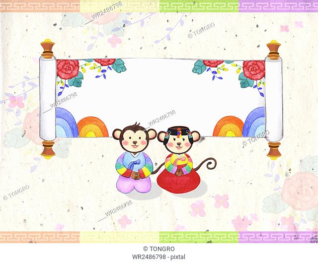 New year 2016 with monkeys in traditional Korean clothes bowing against a scoll with flower patterns