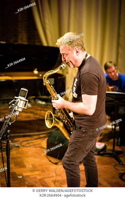 English saxophonist Tim Garland during a sound check with his quartet at the Turner Sims Concert Hall in Southampton, England