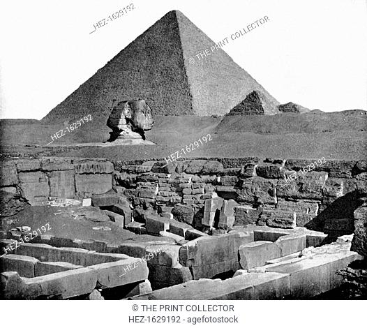 The Pyramids and Sphinx, Egypt, 1893. The Sphinx on the Giza Plateau with the three pyramids of Khufu (Cheops), Khafre (Chephren) and Menkaura (Men-kaur-re)