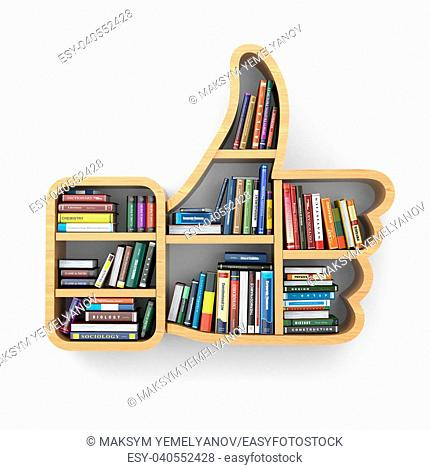 Education concept. Bookshelf with books as like symbol. 3d
