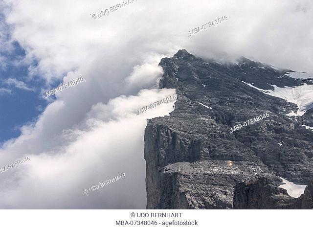 View from Kleiner Scheidegg to the Eiger North Face, Eiger, near Grindelwald, Bernese Oberland, Canton Bern, Switzerland
