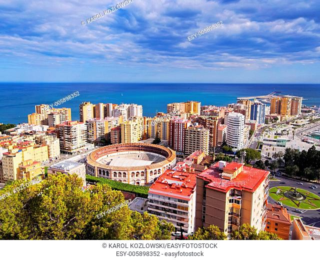 Aerial View of La Malagueta district and the Bullring in Malaga, Andalusia, Spain