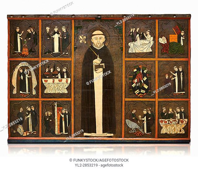 Gothic painted Panel of the life of Saint Dominic, anonymous artist from Aragon. Tempera and varnished metal plate on wood
