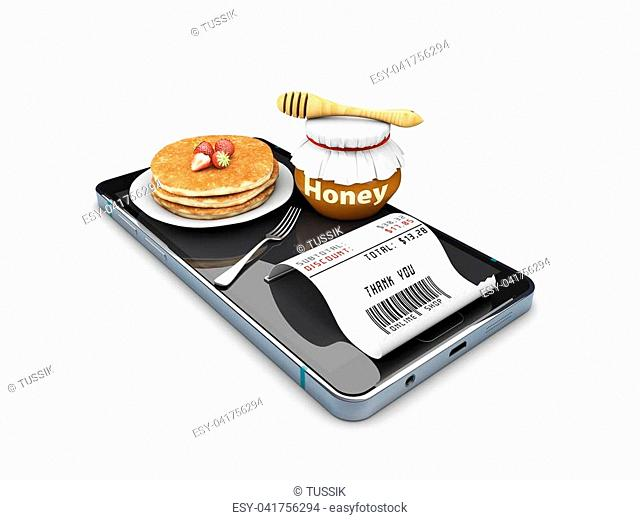 3d Illustration of Stack of pancakes isolated white, online order concept
