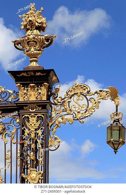 France, Lorraine, Nancy, Place Stanislas, wrought-iron railing