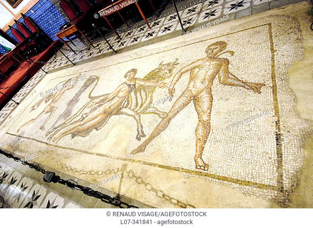 Roman mosaics showing the punishment of Queen Dirce attached to a bull. Ecija. Andalucia. Spain