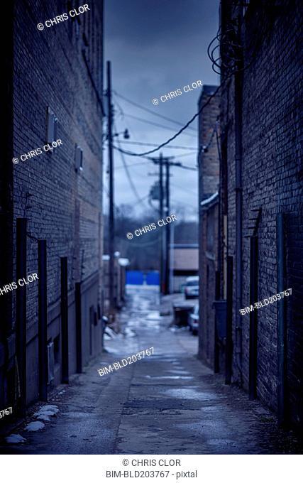 Abandoned urban alleyway
