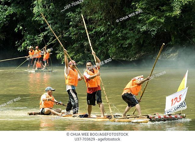 Rafting Competition in action along Padawan River, Sarawak, Malaysia