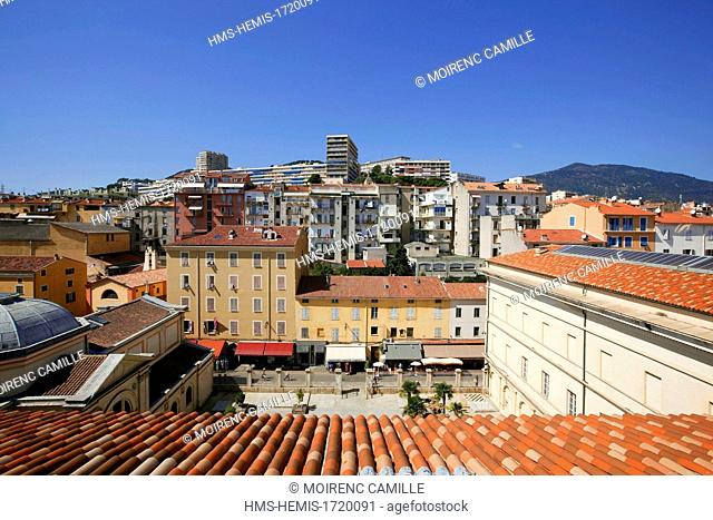 France, Corse du Sud, Ajaccio, Borgu neighborhood from the roof of the Palais Fesch Museum of Fine Arts