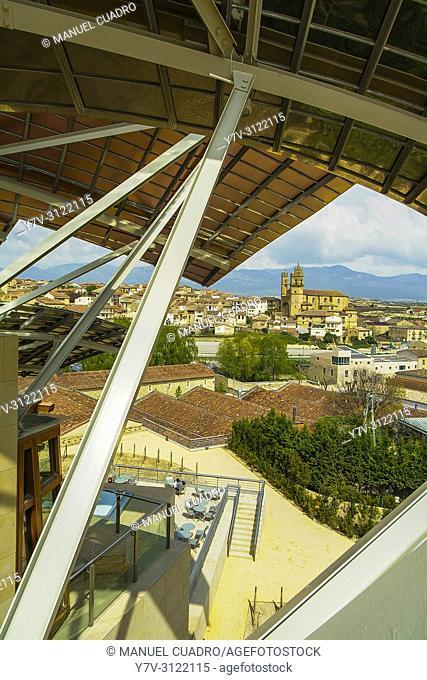 View from Hotel-restaurante Marqués de Riscal (architect Frank Gehry), detail of structure. Elciego, Rioja Alavesa, Alava, Basque Country, Spain