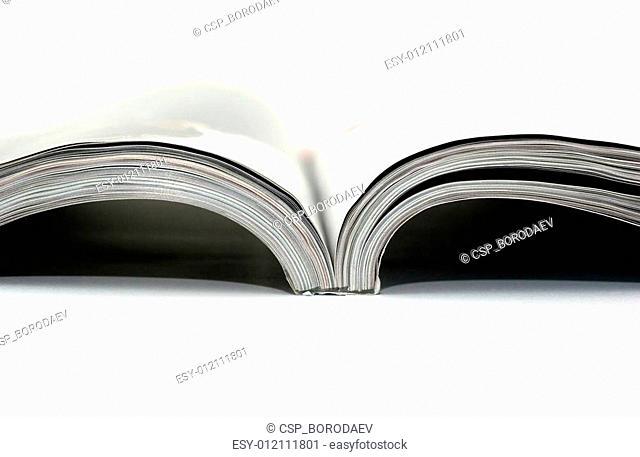 High key photo of magazine on white background