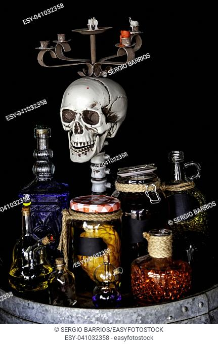 Scary halloween skulls, monstrous death decoration