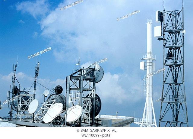 Communication tower and satellite dishes in Chamrousse, Isere, France