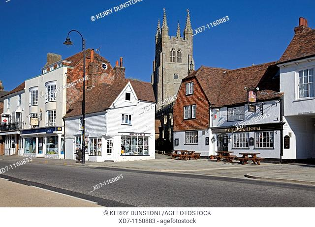 England Kent Tenterden High Street with St  Mildred's Church and 'Woolpack Hotel'