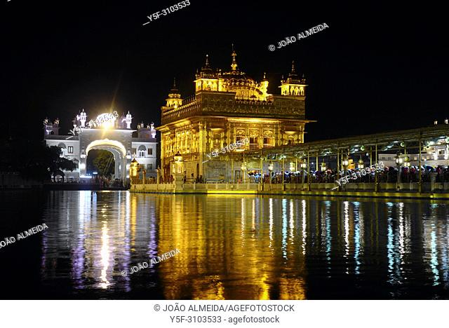 The sanctum of Sri Harmandir Sahib , fully coverd in gold foil, fully lit at night