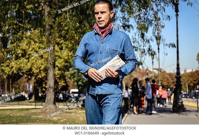 PARIS, France- September 27 2018: Markus Ebner on the street during the Paris Fashion Week