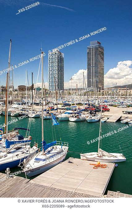 Mapfre tower and Hotel Arts in the Olympic harbour, Barcelona, Spain